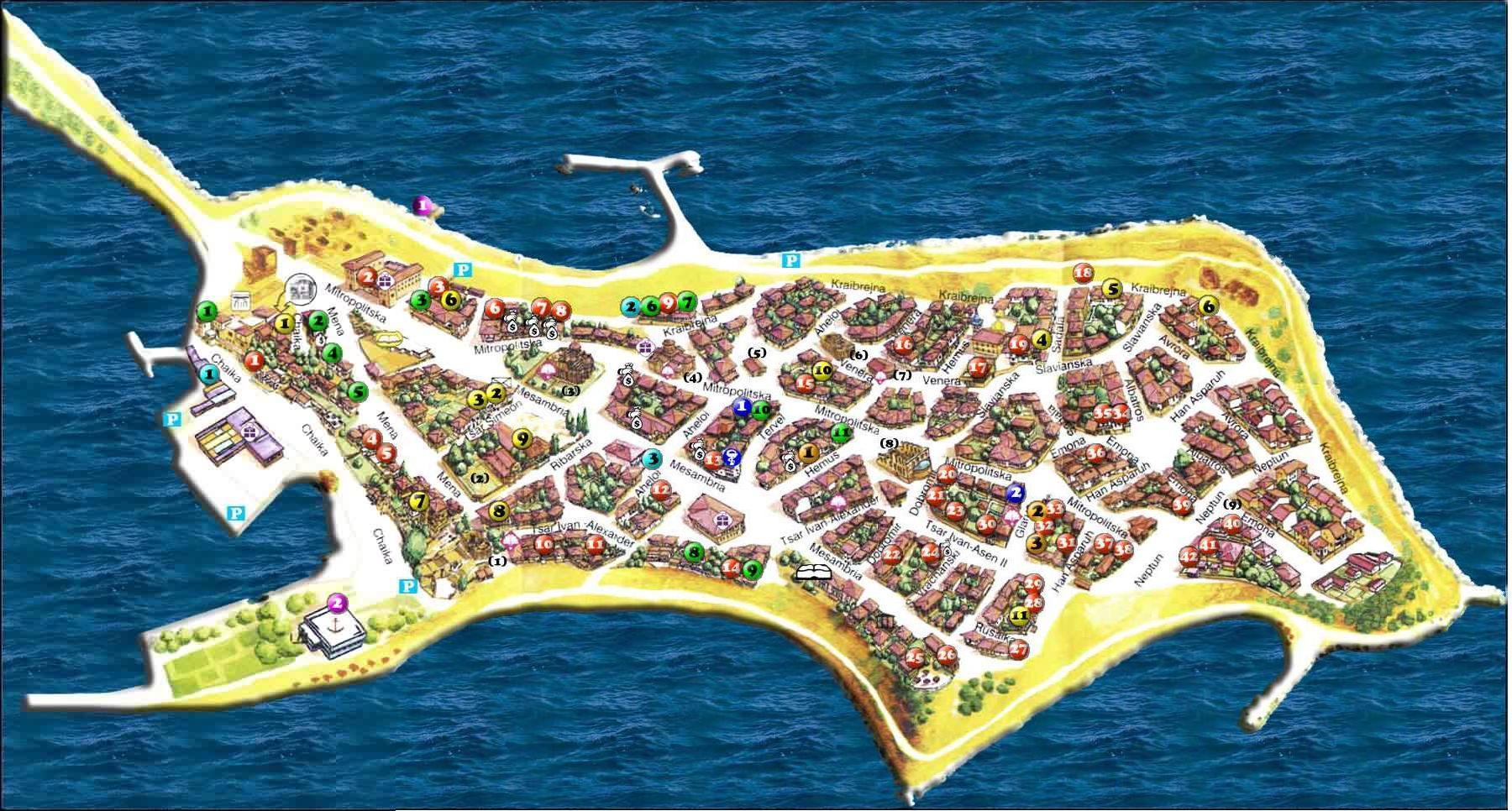 Neszebár Óváros térkép